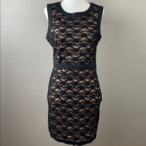 black lace cocktail dress with bow details